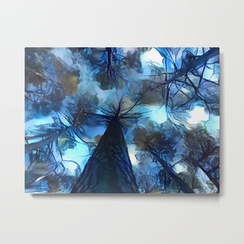 Blue forest, dark sky view, abstract spooky artwork, sad winter trees, dark blue colors nature theme Metal Print by Casemiro Arts - Peter Reiss