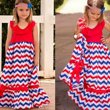 Girls Red White And Blue Maxi Dress // 4th Of July // Independence Day