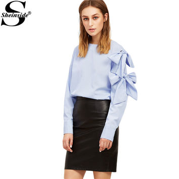 Sheinside Women Blouse Shirt Loose Style New Arrival Streetwear Womens Work Blouses Blue Vertical Striped Bow Tie Sleeve Blouse