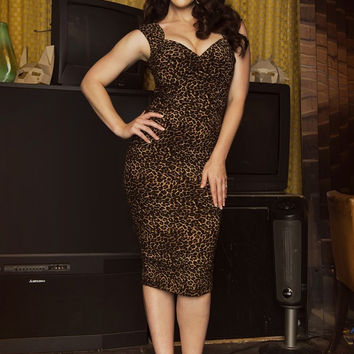 Pinup Couture Erin Wiggle Dress in Leopard