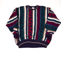 Vintage Disney Striped Coogi Style Sweater / Disney / XL