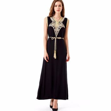 islamic muslim clothing women dress dubai Abaya kaftan summer bohemian vintage embroidery long dress  vestidos de festa 1621