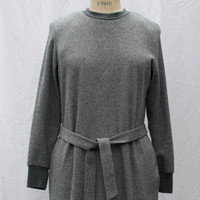 Vintage Grey Sweater Dress, midi knit shift dress, Serben Petite, 1970s, size small-medium (6-12)