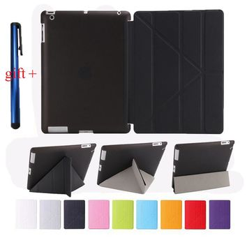 Smart Cover For Apple Ipad 3 2 4 Good TPU Flexible Silicone Soft Back + Smart PU Leather Front Case Auto Sleep + Stylus Pen Gift