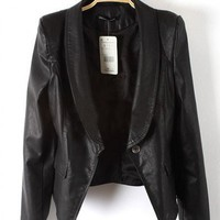 PU Black Long Sleeve Big Lapel One-Button Slim Fit Leather Jacket  style 819py004