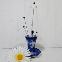 Flow Blue Hat Pin Holder + Six Antique Hatpins Set Flo Blue Romantic Pattern M. Staffordshire England Porcelain Millinery Display Collection