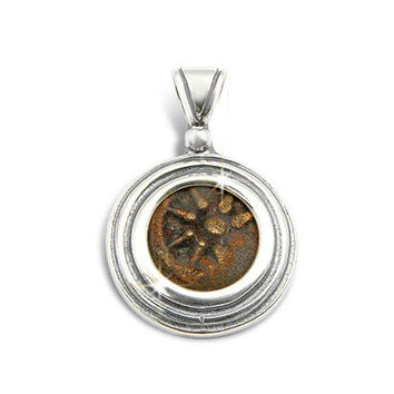 Ancient coin jewelry,widow's mite coin,set in silver pendant.Made in and shipped from the Holyland,Jerusalem.