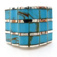 Wide Turquoise Ring, Sterling Silver Rings, Inlay Gemstones, Southwestern Jewelry, Statement Rings, Size 6, Stacked Blue Stones