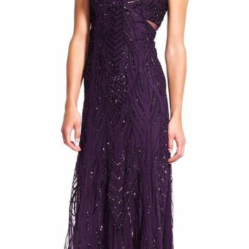 Adrianna Papell - AP1E200184 Vine Beaded Cutout High Low Gown
