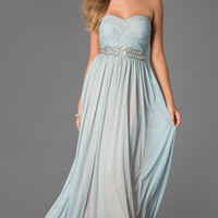 Strapless Sweetheart Glitter Chiffon Prom Dress