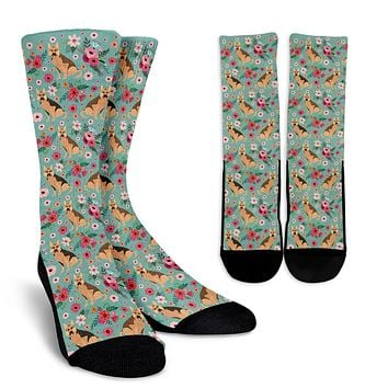German Shepherd Flower Socks
