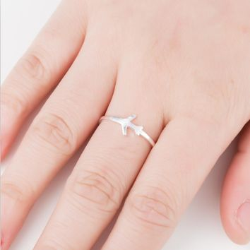 yiustar New Arrival Metal Model Aircraft Airplane Charm Pendant  Ring  Creative Best Friend Gift Accessories