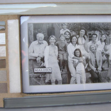 Glass and Stainless Steel Photo Frame / 4 x 6 Frame / Matted Frame / Mosaic Frame / Modern Frame / Black White Photo / Mother's Father's Day