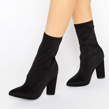 Missguided Pointed Toe Neoprene Heeled Ankle Boot