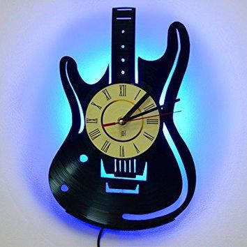 LED Night Light, Wall Lamp, Guitar Silhouette Wall Clock, Cool Bedroom Wall Art Decor