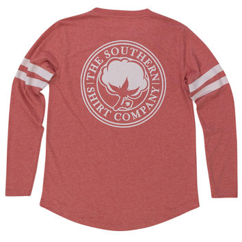 Heather Jersey Long Sleeve Tee Shirt in Chrysanthemum Red by The Southern Shirt Co.