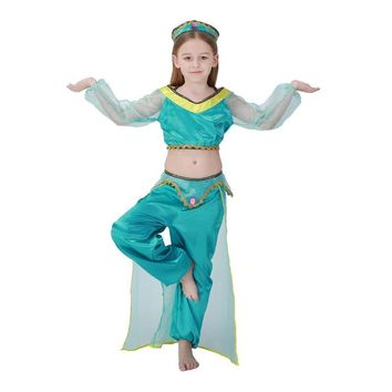 Adult Women Kids Princess Jasmine Costume Green Dress Classic Genie Child Arabic Belly Dance Crop Tops Outfit For Baby Girls S-L
