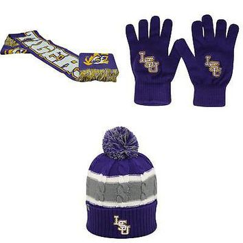 Licensed NCAA LSU Tigers Spirit Scarf TOW Knit Glove And Windy Beanie Hat 3 Pack 76479 KO_19_1