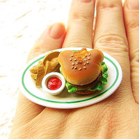 Bear Shaped Hamburger And Fries Ring by SouZouCreations on Etsy