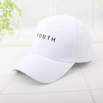 YOUTH Dad Hats -  Adjustable Strap - White