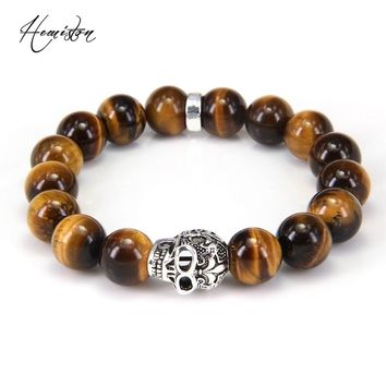 Thomas Style BIG TIGER'S EYE BEAD AND SKULL with LILY DESIGN BEADS ELASTIC BRACELET, Rebel Heart Style Jewelry for Men TS B263