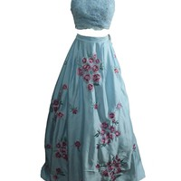 Staychicfashion Blue Two Piece Floral Satin Lace Prom Ball Gown Dress 2016