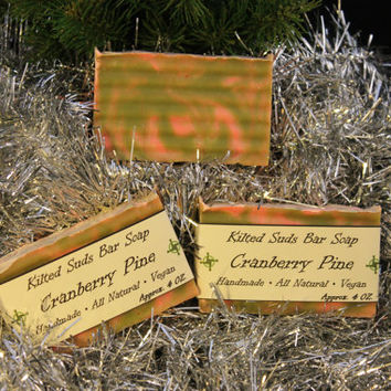 Cranberry Bar Soap, Palm Free Soap, Holiday Soap, Pine Soap, Christmas Soap, Christmas Tree Soap, Vegan Skin Care, Natural Skincare