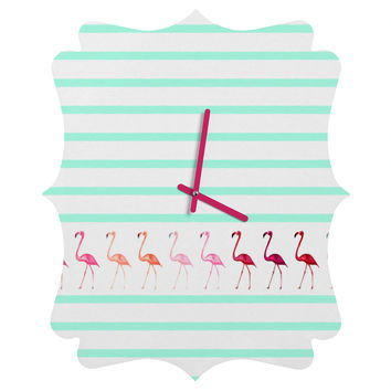 Monika Strigel Mini Flamingo Walk Quatrefoil Clock
