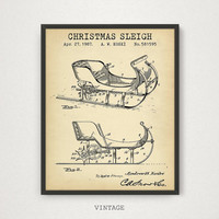 Sleigh Patent, Digital Download, Santa Claus Christmas Wall Decor, Party Decorations, Christmas Prints, Kids Room Decor, Sleigh Poster Art