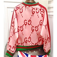 GUCCI Women Fashion New More Letter Star Print Long Sleeve Top Coat Jacket Pink