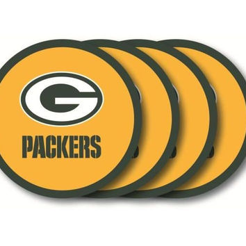 GREEN BAY PACKERS COASTER 4 PACK SET