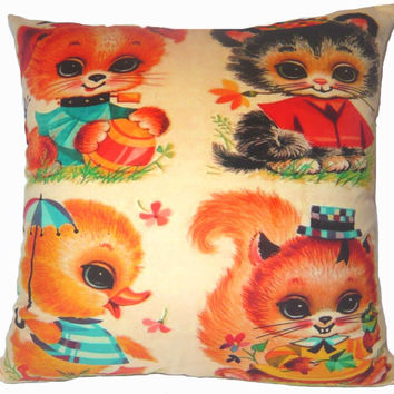 """Retro vintage cat dog duck squirrel cute animals Cushion Cover decorative Throw Pillow Case 18"""" 45 cm both Sides Home Sofa Decoration chic"""