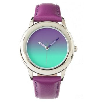 Kid's Stainless Steel Purple Leather Strap Watch
