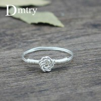 Dmtry Design New Handmade DIY Wire Jewelry Silver Dandelion Flower Finger Ring For Women Wedding Engagement Friend Gift SR0001
