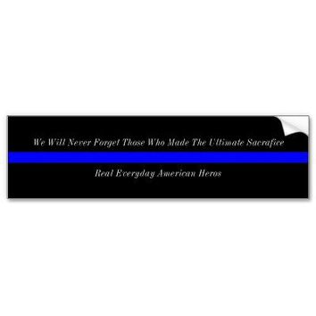 Thin Blue Line American Heros Bumper Stickers from Zazzle.com