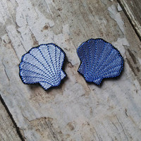 READY TO SHIP!!!! Seashell Embroidered Iron On Patch! Ready to ship! Small 2x2 Set of two!