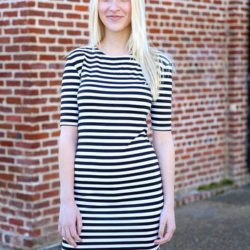 piko - fitted striped dress - black