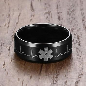 8MM Men Stainless Steel Ring Laser Engraved Heartbeat Medical Symbol