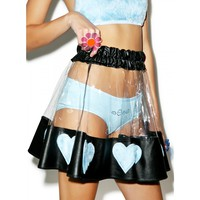 COURTNEY LUST PVC HEART SKIRT