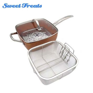 Sweettreats Copper Square Pan Induction Glass Lid Fry Basket With Stainless Steel Handle, Steam Rack 4 Piece Set, 9.5 Inches