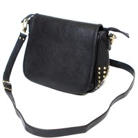 LEATHER SATCHEL WITH CONE STUDS