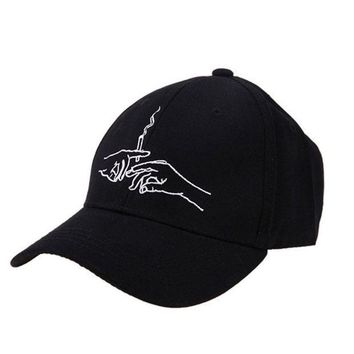 PEAPFS2 Cotton Baseball Caps Hands Smoking Embroidery Cap Men Women Customer Design 2018 Brand Hat Black Cap Casquette Dad Hats