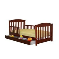 Dream On Me Mission Style Toddler Bed with Storage Drawer, Cherry