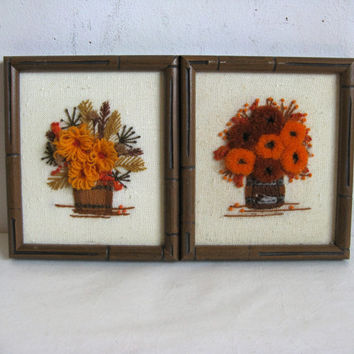 Vintage Autumn 70s Wall Hanging 1970s 2 Fall Flower Bouquet Crewel Embroidery Wall Hanging Home Décor