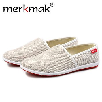 Merkmak Casual Shoes Flats Men Summer Beach Breathable Slipper Handmade Hemp Men Casual Light Soft Slip-on Loafers Driving Shoes