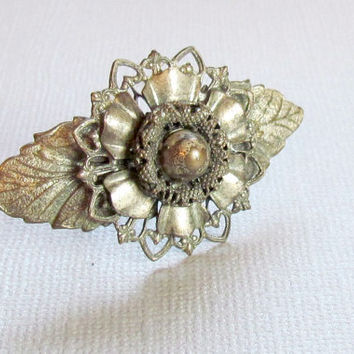Silver Flower Brooch with Leaves