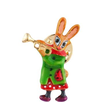 N2 by Les Néréides BRASS BAND RABBIT AND TRUMPET PIN