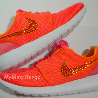 NEW Nike Roshe Run Shoes - Pink Glow / Atomic Mango / Summit White / Volt - Bedazzled with Swarovski Elements Crystals
