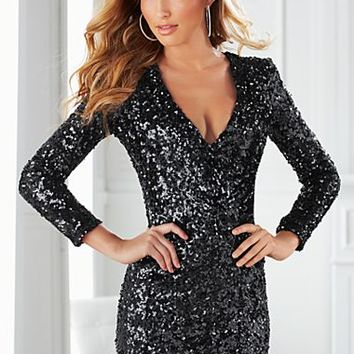 Black (BK) V-Neck Sequin Dress