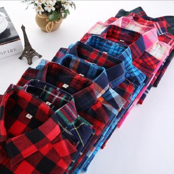 S-5XL Large Size Spring Blouse Casual Big Size Shirt Cotton Top Lapel Plaid Shirt Outwear Plus Size Women Clothing Blusas